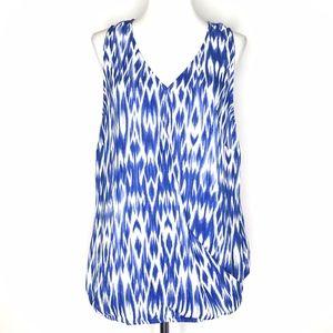 Laundry Shelli Segal Blue White Blouse Top A120763